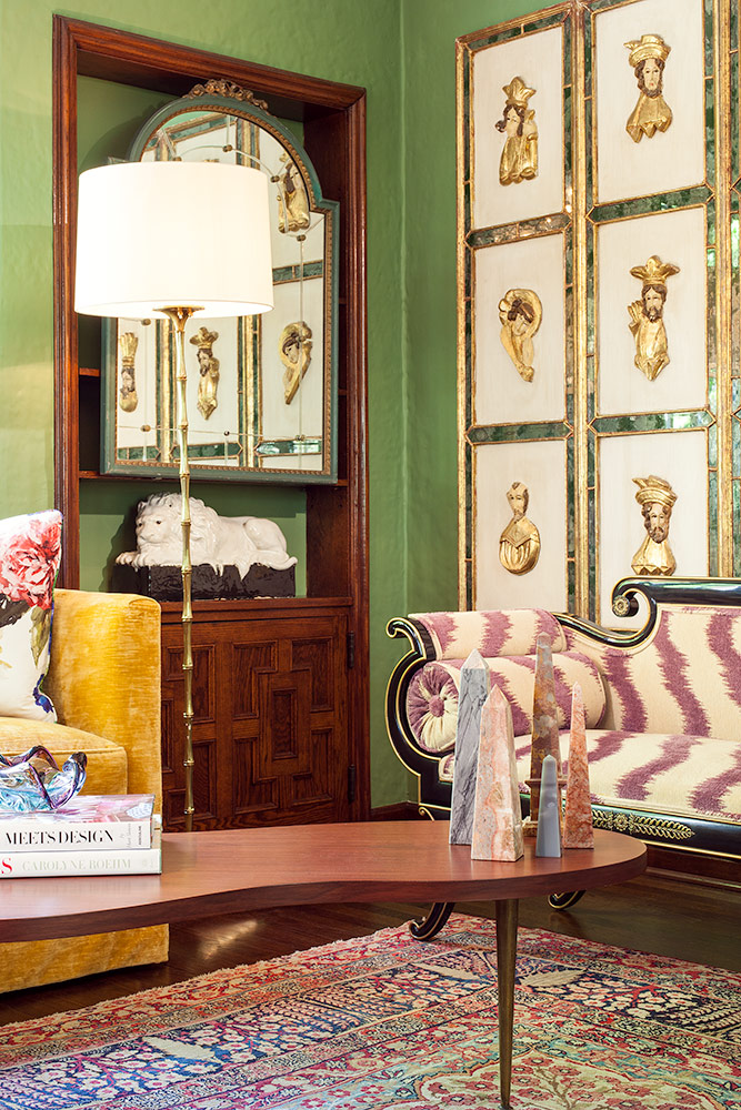 Each room is steeped in color and pattern-on-pattern layers. Ashlee also  worked with the owner to create an impressive art and accessory collection.